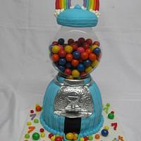 Rainbow gumball machine cake