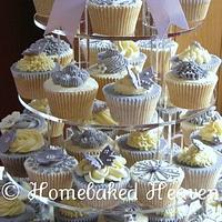 Wedding cupcake tower in lavender
