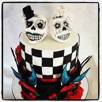 Sugar skulls wedding cake