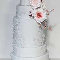 Blush & pale grey wedding cake