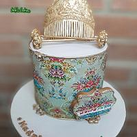 Typical spanish dress of Fallas festivities cake