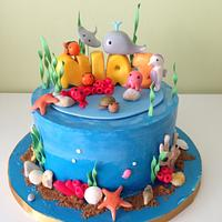 Underwater birthday cake