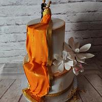 Saree Drape Engagement Cake