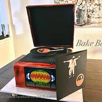 Spinning record player cake with light and sound