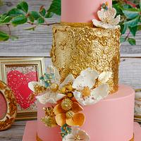 Gold and Rose Wedding Cake