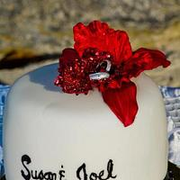 Single Tier White, Black and Red Wedding Cake