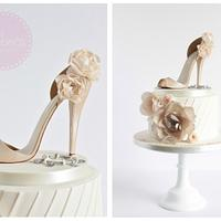 Ivory & Beige Pleated Shoe Cake