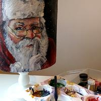 Painted cake santa