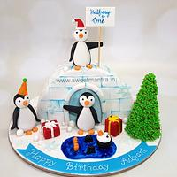 Igloo theme cake for boys half year, 6 months birthday