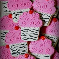 Hot Pink and Zebra Striped Cupcake Cookies!