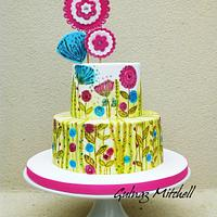 Hand painted cake inspired by Sarah Travis's art