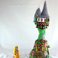 Rapunzel Tower Sculpted Cake