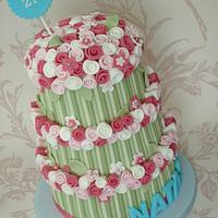 Three tier rose bouquet cake