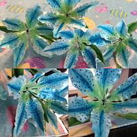 Special Project - 1st attempt at wired flowers (Blue Stargazer Lilies) by Crystal Davis