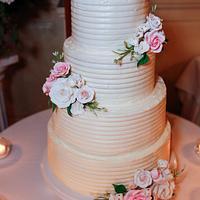 Buttercream Wedding Cake with Sugar Flowers
