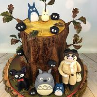 Totoro and friends anime wedding cake