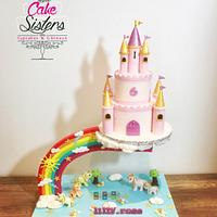 unicorn castle gravity cake