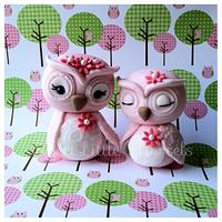 Mommy and baby owl cake toppers