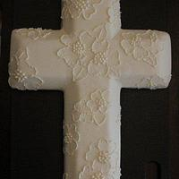 Brushed Embroidery Cross Cake