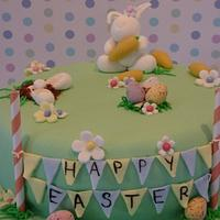 Easter Bunny and bunting cake for charity.
