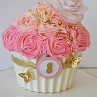 Girly Rose and Butterfly Cupcake Cake