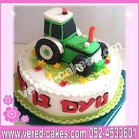 A green tractor cake