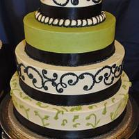 Green & black wedding cake