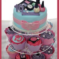 Little girls makeup cupcake tower by Lydia