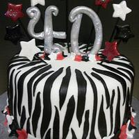 Zebra 40th Birthday Cake