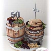 Barrel & grapes press cake
