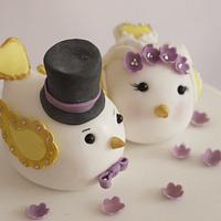 Caroline Lovebirds Wedding Cake by Scrummy Mummy's Cakes