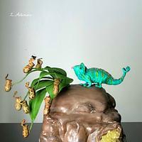 Colorful Chameleon Cake