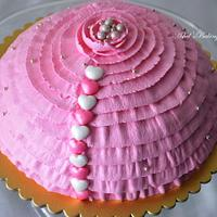 Healthy natural colour ruffles cake