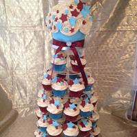 Claret and blue BFC wedding cake