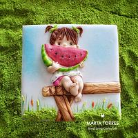 Watermelon girl.... Learning social distance