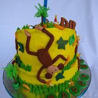 Topsy Turvy Monkey Themed Cake by chloethean