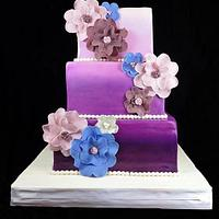 Modern Purple Ombre w/Flowers