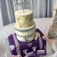 Suitcase/world map baby shower cake