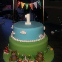 My First Cake - 2 tier teddy bears picnic