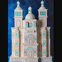 My 4 ft tall pastillage n royal icing palace  by thefrostgoddess
