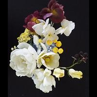 Sugar flower arrangement with pansy flowers
