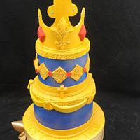 Blue and Gold Christening Cake