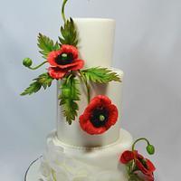 Wedding cake with poppy flowers