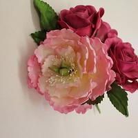 Sugar Rose and Peony cake topper by Cakes o'Licious