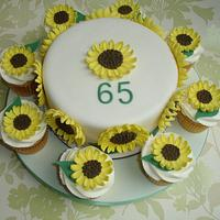 Sunflower cake and cupcakes by GemCakes