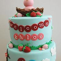 Strawberries and Baby Bird Cake for Katie