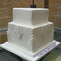 All white Art Deco Wedding Cake