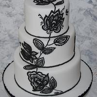 Black royal icing embroidery