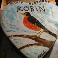 Puzzle cake, Hand painted robin by Erika Lynn Cain