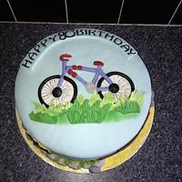 happy 80th birthday cycle cake
